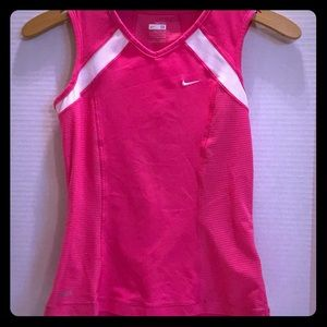 NIKE FIT DRY POLY SPANDEX Sleeveless PINK WHITE M